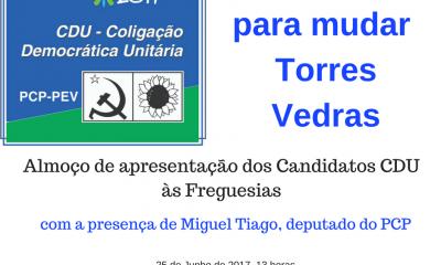 Domingo a CDU apresenta candidatos para Torres Vedras