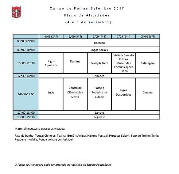 Plano atividades férias setembro física