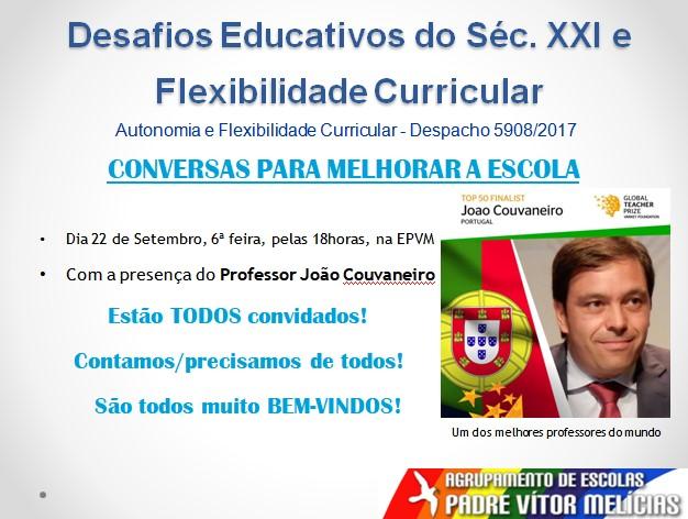 """""""Conversas para melhorar a escola"""" - dia 22 na Escola Vítor Melícias"""