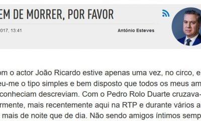 """Artigo de António Esteves - """"Parem de Morrer Por Favor!"""""""