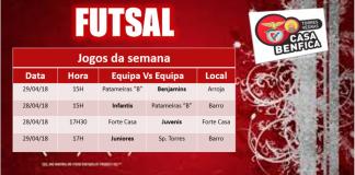 Calendário dos jogos de futsal desta semana