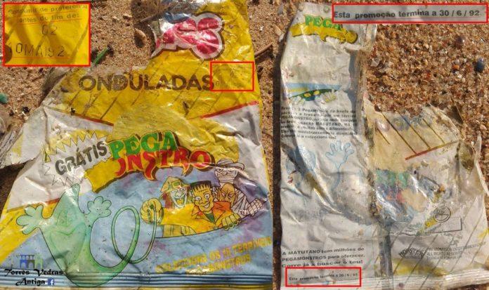 Pacote de batatas fritas com 26 anos encontrado em Santa Cruz