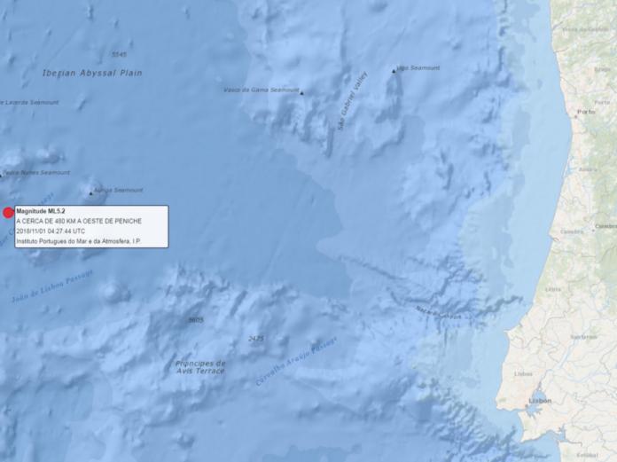Registado sismo de magnitude 5.2 a oeste de Peniche sem causar danos