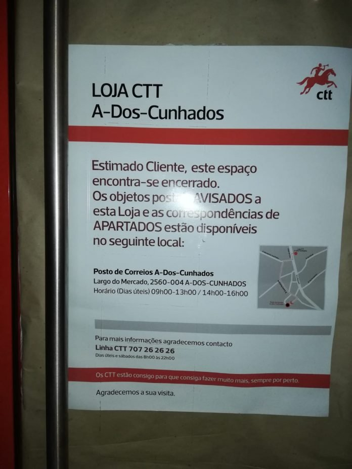 Bloco de Esquerda insurge-se contra a transferência dos serviços dos CTT de A dos Cunhados para a Junta de Freguesia
